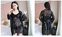 Кружевной комплект халат пеньюар и стринги черный 44-46 Sweet гипюр, фото 1