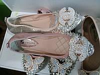 Балетки женские со стразами розовые серебро золото чёрные