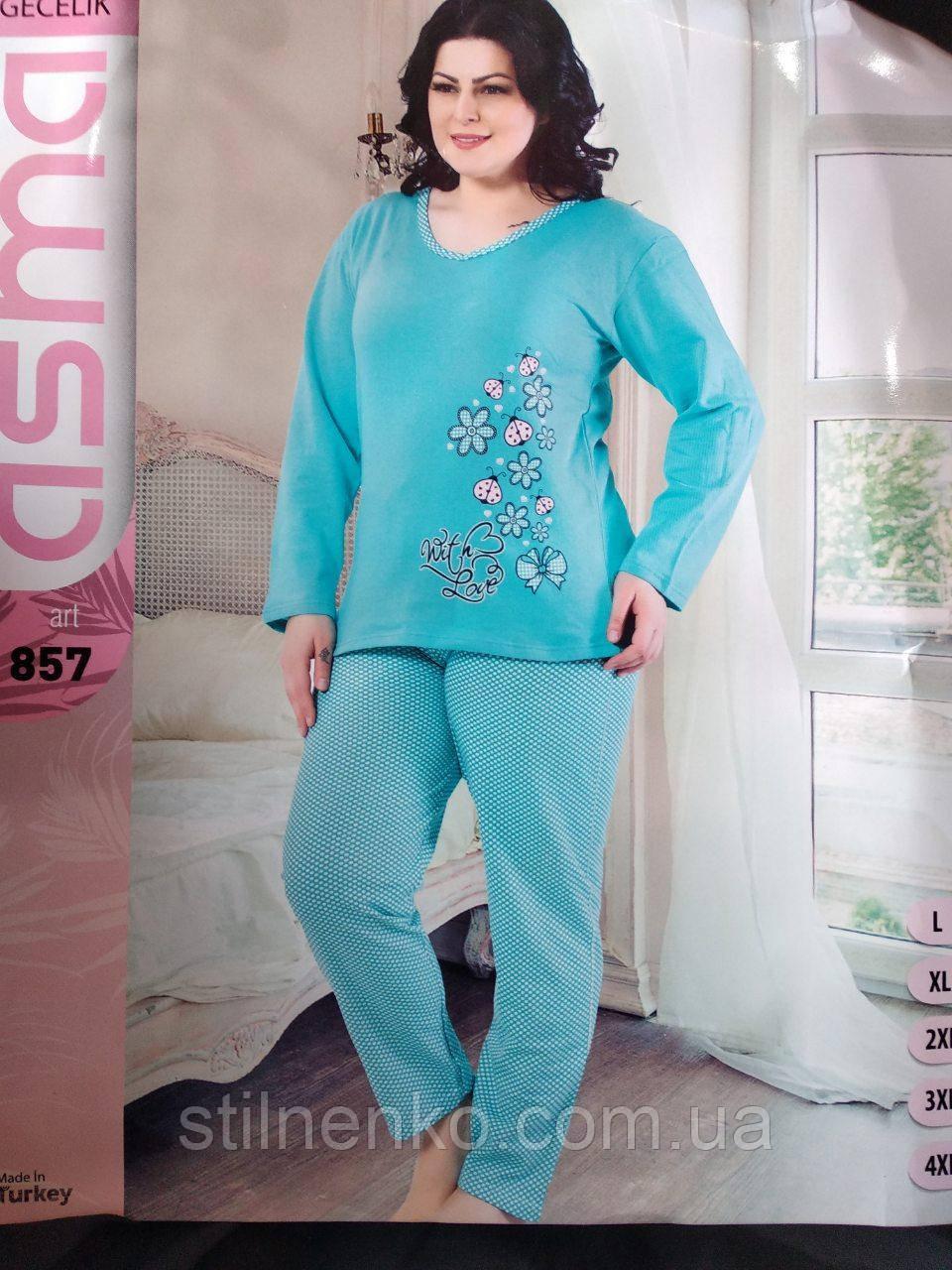 Пижама женская батал трикотаж на байке