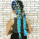 Яркие косы канекалона, коса сине голубая, фото 4
