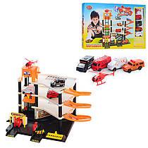 Детский Многоуровневый Гараж паркинг на 4 яруса машинки (4 шт.) и вертолетом, JT 0846