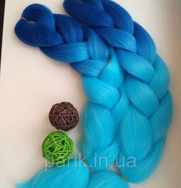 💙 Сине голубой канекалон, яркое омбре коса 💙