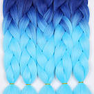 💙 Сине голубой канекалон, яркое омбре коса 💙, фото 8