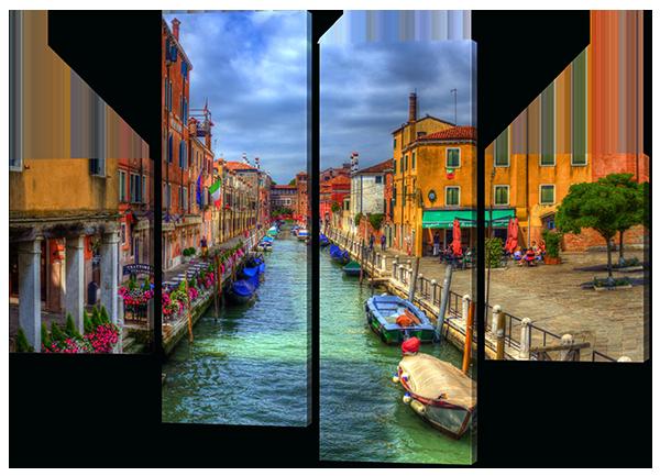 Модульная картина Interno Эко кожа Венецианский канал  126x93см (A373М)