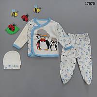 """Набор на выписку """"Пингвины"""" для мальчика, 3 предмета. 0-3 мес"""