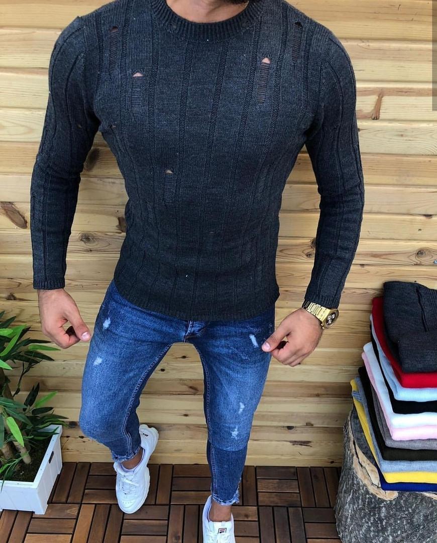 Джемпер чоловічий светр темно-сірий з дірками стильний