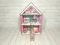Домик для LOL 2106 с обоями, шторками, лестницей, мебелью, текстилем и двухъярусной кроваткой