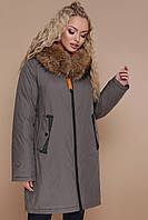Модная зимняя женская куртка на змейке с мехом на капюшоне большие размеры Куртка 18-098, оливковая