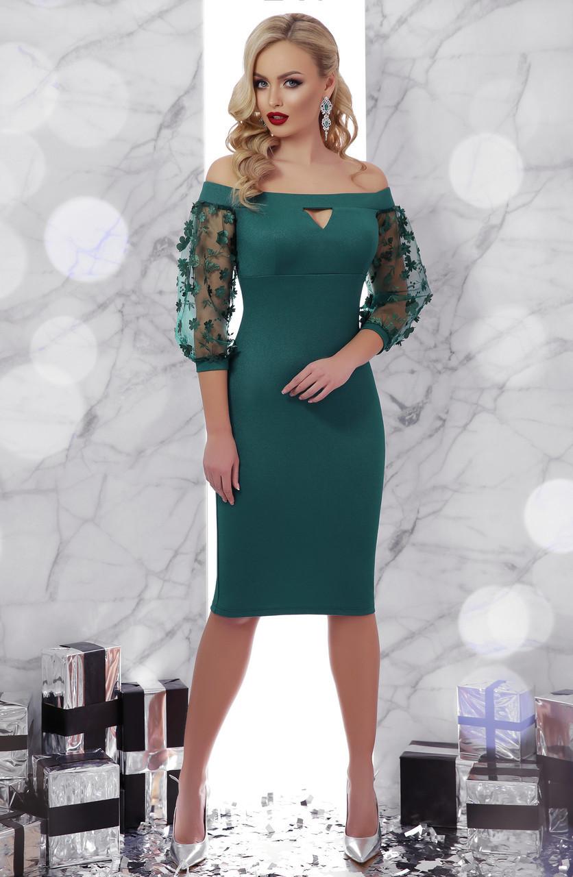 Красивое облегающее женское платье до колен с рукавами из сетки в цветок, открытые плечи Розана д/р, изумрудное