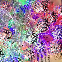Новогодняя LED Гирлянда 20 Ламп Фигурки Серебряные Фонарики Бусинки Цвет Ламп Мульти