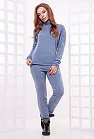 Женский спортивный костюм-двойка из ангоры: свитер-гольф и штаны с карманами, цвет джинс