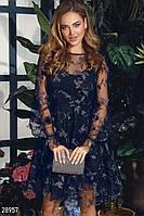 Синее платье миди с декором