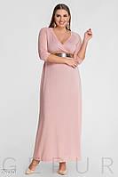 Длинное вечернее платье батал с люрексом,розовое 52-54,54-56