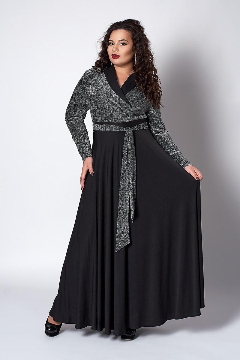 Изысканное длинное женское платье черное