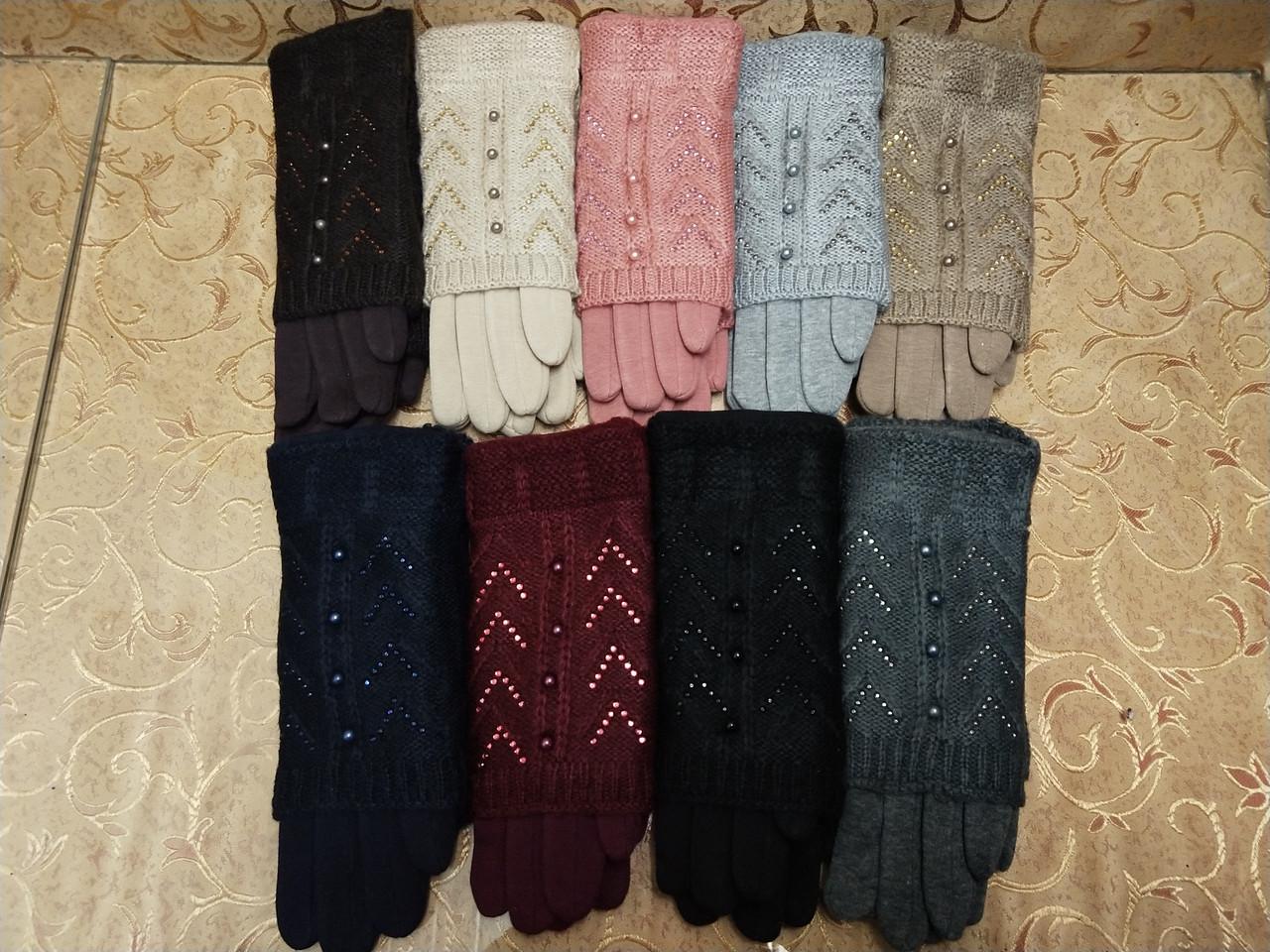 Вязание шерсти трикотаж женские перчатки  плоншете ANJELA только оптом