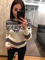 """Женский шерстяной свитер без горла """"Орнамент"""", белый. Турция., фото 1"""