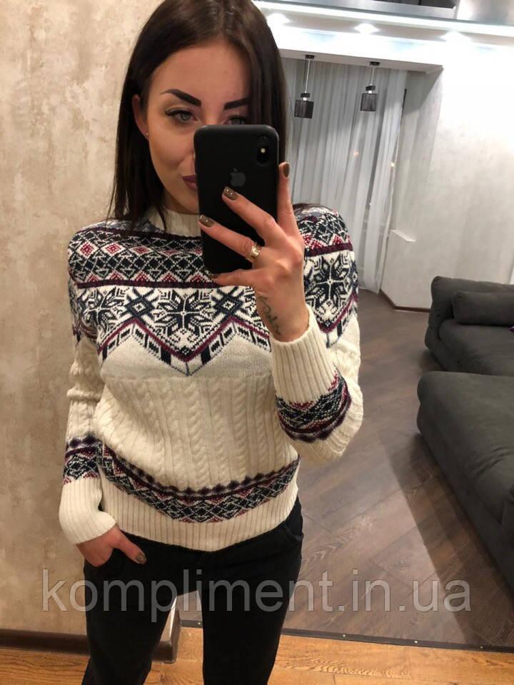 """Женский шерстяной свитер без горла """"Орнамент"""", белый. Турция."""