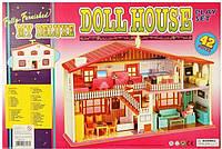 Кукольный домик с мебелью и куклами/ Игровой дом для кукол 987, 2 этажа, 42 предмета