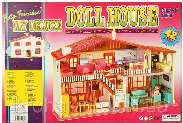 Кукольный домик с мебелью и куклами/ Игровой дом для кукол 987, 2 этажа, 42 предмета, фото 2