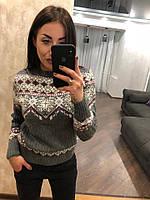 """Женский шерстяной свитер без горла """"Орнамент"""", серый.Турция., фото 1"""