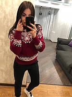 """Женский шерстяной свитер без горла """"Орнамент"""", красный.Турция., фото 1"""