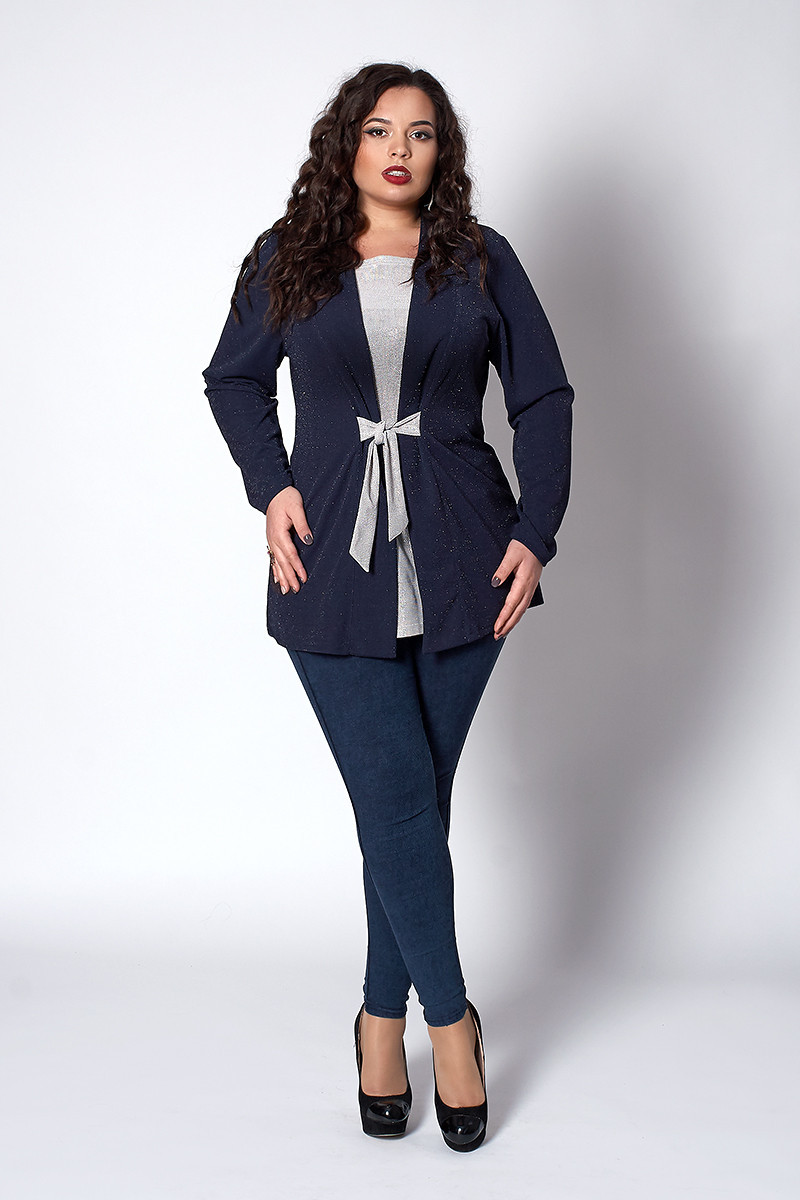 Ошатна жіноча кофта-жакет синя