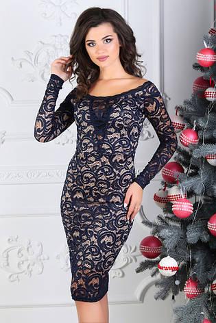 Платье гипюровое с длинным рукавом, синее. Фото реальные., фото 2