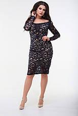 Платье гипюровое с длинным рукавом, синее. Фото реальные., фото 3