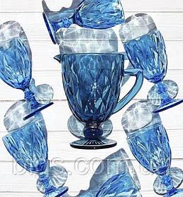 "Набор бокалов с кувшином 300 мл ""Изумруд"" ( бокалы для вина ) синий"