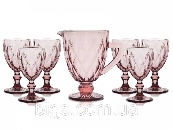 """Набор бокалов с кувшином розовые 300 мл """"Изумруд"""" ( бокалы для вина )"""