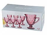 """Набор бокалов с кувшином розовые 300 мл """"Изумруд"""" ( бокалы для вина ), фото 4"""