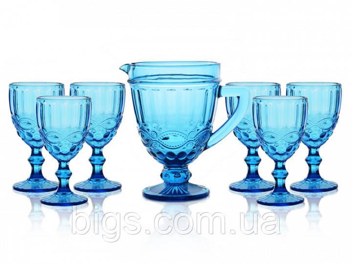 "Набор бокалов с графином синий 300 мл ""Винтаж"" ( бокалы для вина )"