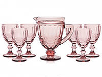 "Набор бокалов с кувшином розовые 300 мл ""Винтаж"" ( бокалы для вина )"