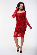Платье гипюровое с длинным рукавом, красное. Фото реальные., фото 3
