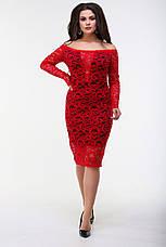 Платье гипюровое с длинным рукавом, красное. Фото реальные., фото 2