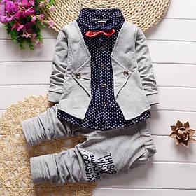 Ошатний костюм двійка для хлопчиків сірий в горошок 1-2 роки