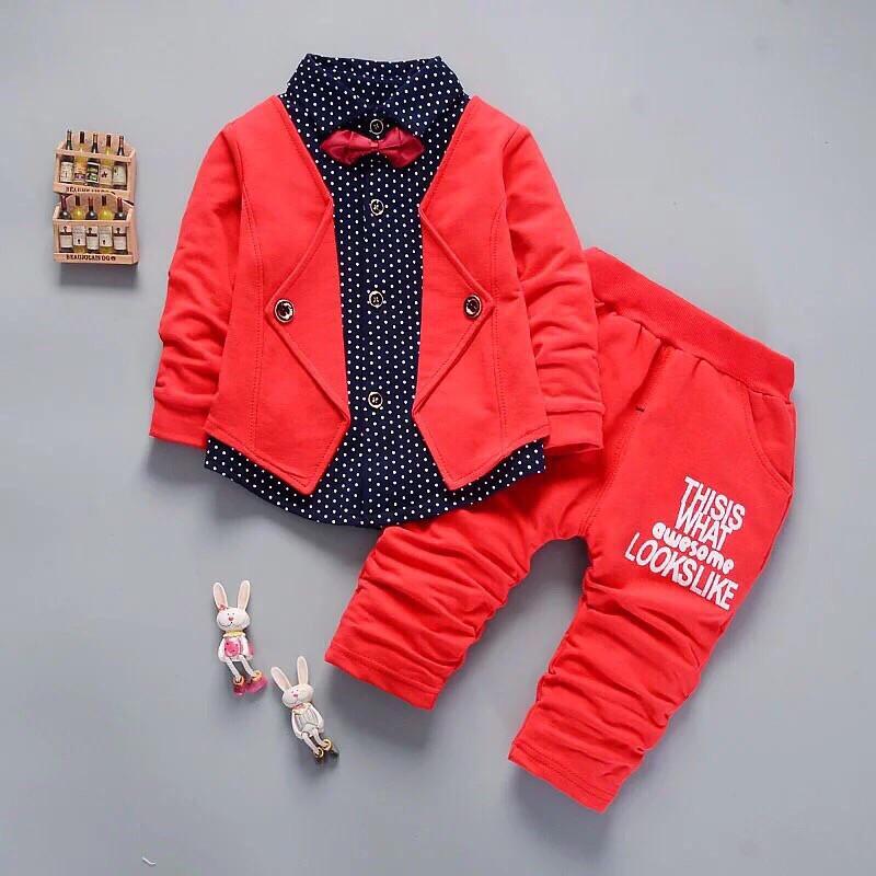 Нарядный костюм двойка для мальчиков красный 110 размер