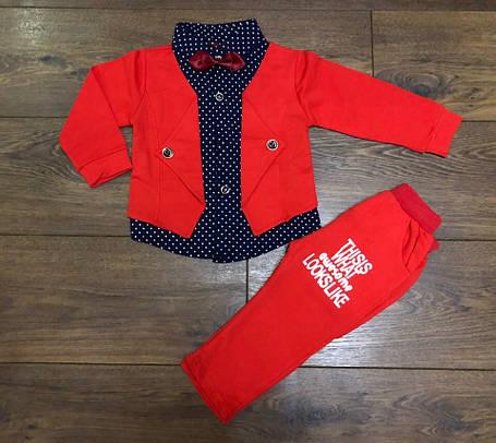 Нарядный костюм двойка для мальчиков красный 110 размер, фото 2