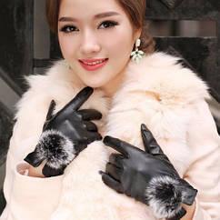 Женские черные перчатки из экокожи