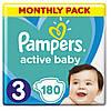 Підгузники дитячі Pampers Active Baby Midi 3 (6-10 кг) Monthly Pack 180 шт