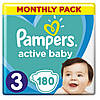 Підгузники Pampers Active Baby Midi 3 (6-10 кг) Monthly Pack 180 шт