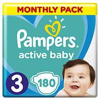 Подгузники Pampers Active Baby Midi 3 (6-10 кг) Monthly Pack 180 шт