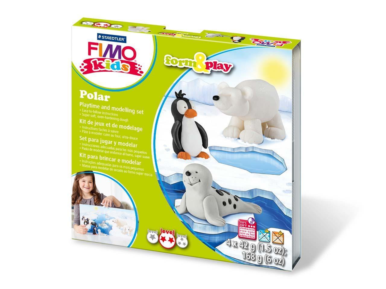 """Подарочный набор Фимо Fimo KIDS """"Полярные животные"""", Polar, 4шт. глина+стек+инструкция"""
