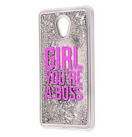 Чехол-накладка (Жидкий Блеск) Girls You're A Boss для Meizu M6s Silver