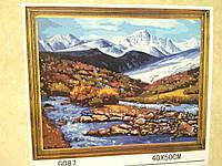 Холст-розмальовка під номерами 40*50см з набором фарб і пензликами 2 шт, з рамкою, Гірський пейзаж