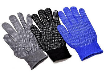 Перчатки рабочие нейлоновые тонкие с микроточкой, упаковка — 12 пар, фото 2