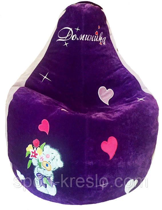 Бескаркасное кресло мешок пуфик груша с вышивкой мишки Тедди