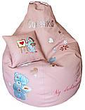 Бескаркасное кресло мешок пуфик груша с вышивкой мишки Тедди, фото 5
