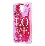 Чехол-накладка (Жидкий Блеск) Love для Meizu M6s Pink