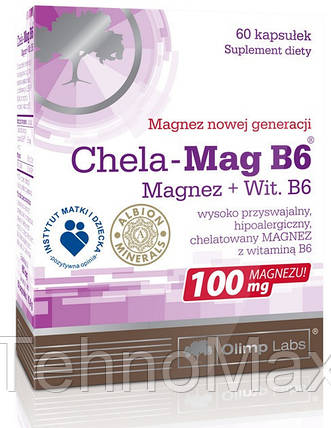 Хелат магния Альбиона, боярышник и витамины В1, В6, В12, фолиевая кислота Chela-Mag B6 Cardio (30 tab), фото 2
